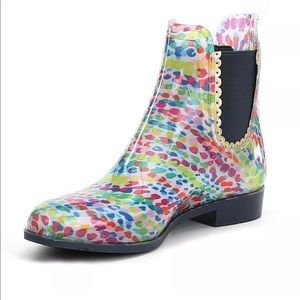 New Jack Rogers Spackled Rainbow Rain Boots 7 M